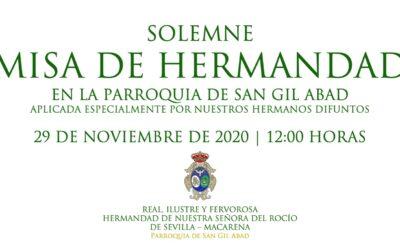CULTOS | MISA DE HERMANDAD.